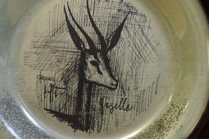 D'après Bernard BUFFET (1928-1999)  Assiette Gazelle  Gravée à l'eau forte sur argent...