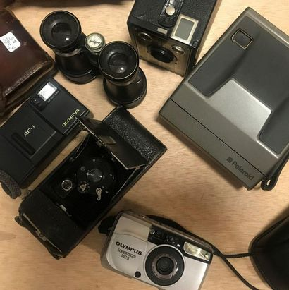 Lot of 7 cameras including old bellows cameras, in their case, and modern and Polaroid...