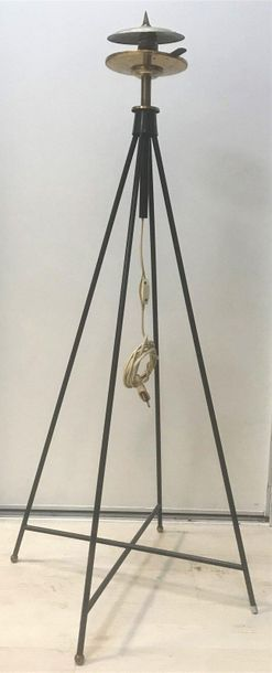 Floor lamp  With a triangular metal base...