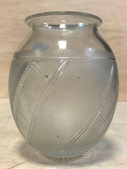 Moulded glass vase matt and transparent  XXth...