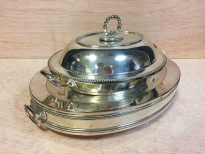 Silver plated metal dish warmer and covered terrine decorated with pearl nets  English...