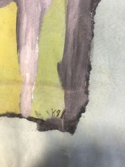 """Composition au profil rouge  Gouache sur papier  Monogrammé en bas à droite """"K""""..."""
