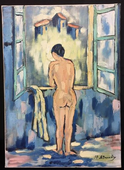 A. BONNELLY  Woman at the window  Oil on...