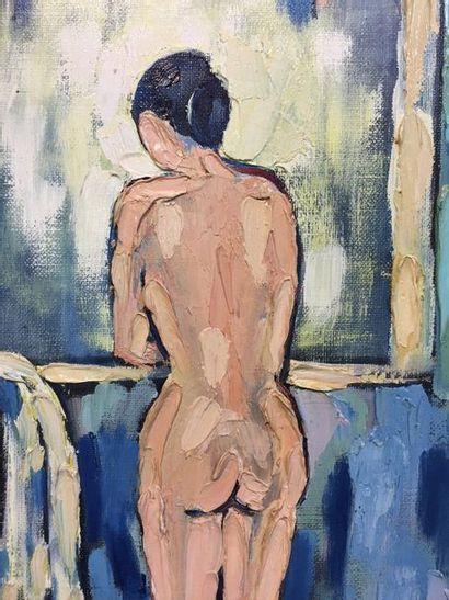 A. BONNELLY  Femme à la fenêtre  Huile sur toile  Signé en bas à droite et daté...