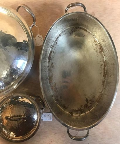 CHRISTIAN DIOR  Part of cookware in hammered metal including 1 terrine, 1 casserole...