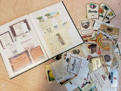 Album d'étiquettes de vin, liqueurs, orangeades...