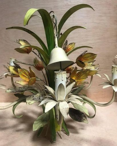 Painted sheet metal chandelier with six arms of light decorated with foliage and...