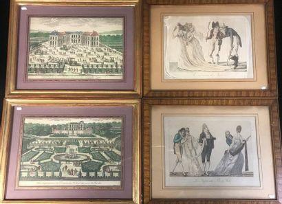 Lot de cinq gravures anciennes comprenant...