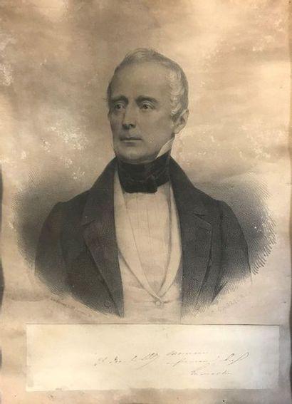 Portrait d'Alphonse de Lamartine  Gravure...
