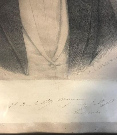 Portrait of Alphonse de Lamartine  Engraving  Signed and autographed by Lamartine...