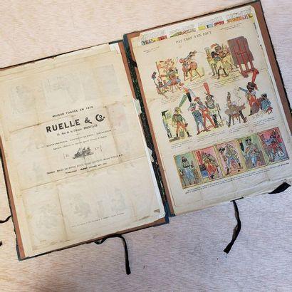 Carton de feuillets d'illustrations lithographiées,...