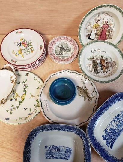 Lot de faïence et porcelaines diverses comprenant...
