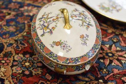 M- LIMOGES BROTHERS  Porcelain bird serving set with enamelled decorations  Including...