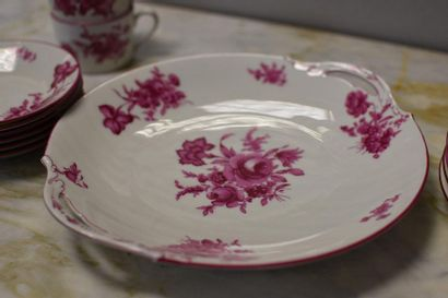 CARLIER  Cannes, Limoges  Porcelain coffee service part with rose-printed decoration...