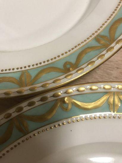 KPM - Royal Porcelain Manufacturers Berlin  Set of three enamelled porcelain soup...