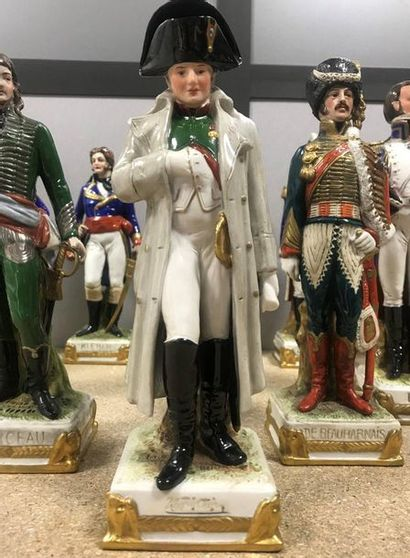 Group of 13 enamelled porcelain figurines composing part of Napoleon's General Staff....