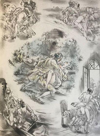 COLLOT (André)  Symphonies in Love  N°33  Suite of sixteen drypoint engravings enhanced....