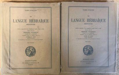 FABRE-D'OLIVET - La langue hébraïque restituée...