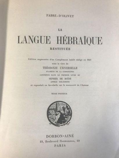 FABRE-D'OLIVET - The restored Hebrew language  Two volumes