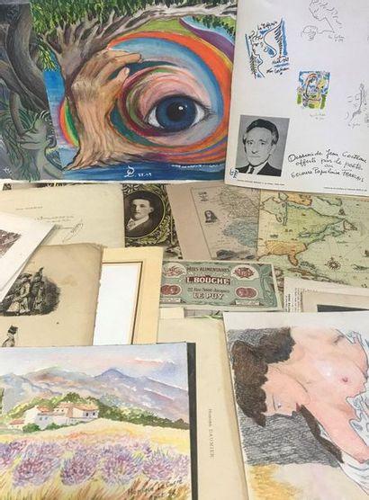 Important lot de gravures, dessins originaux,...