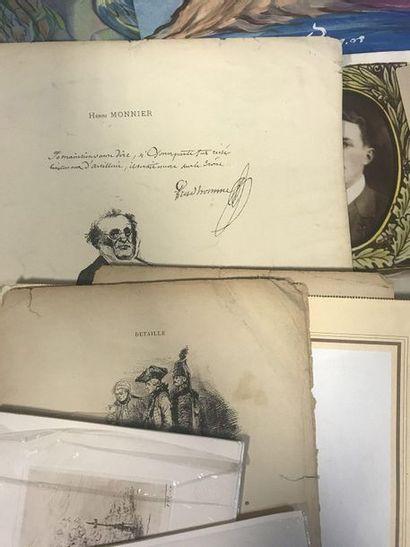 Important batch of engravings, original drawings, facsimile of Jean Cocteau, Bernard...