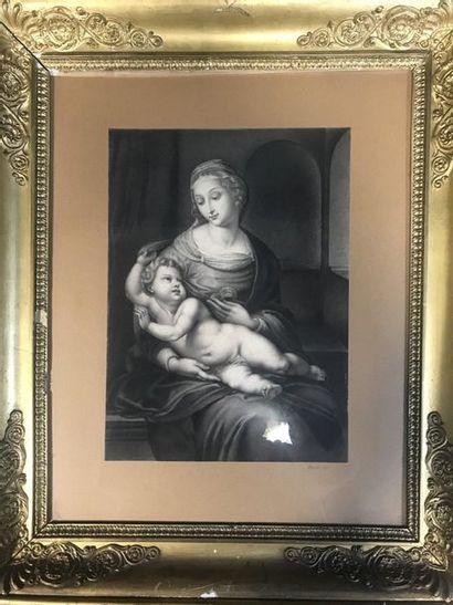 CROUSE  Vierge à l'enfant  Manière noire...