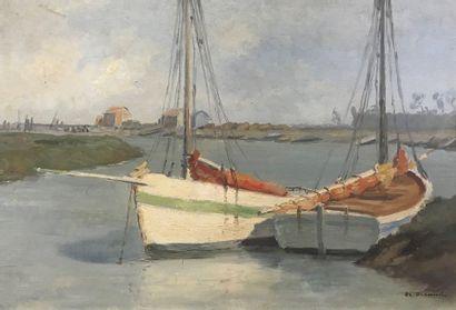 BIRAUD (XXème)  Barques dans l'estuaire à...