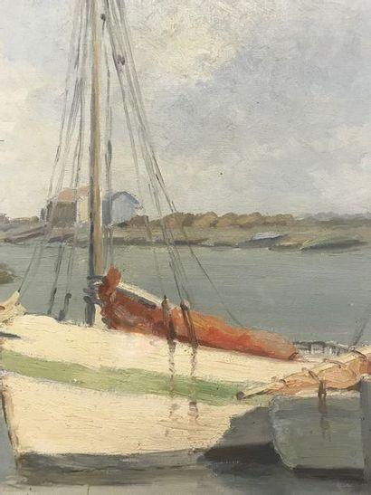 BIRAUD (XXth)  Boats in the estuary at Ile de Ré  Oil on canvas  53.2 x 36.5 cm