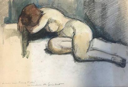 Ecole du XXème  Nu de femme  Crayon et aquarelle...