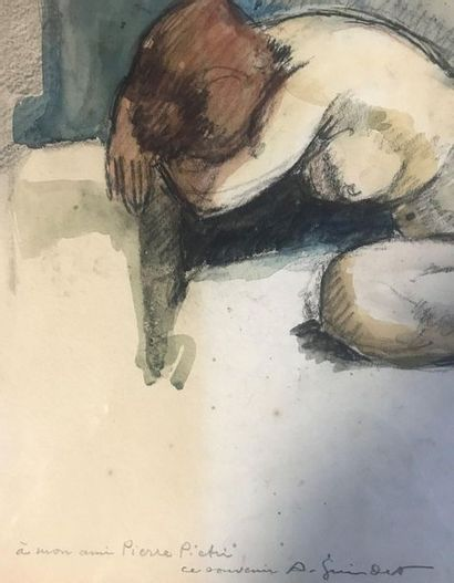 20th Century School  Female nude  Pencil and watercolour on paper  Signed below...