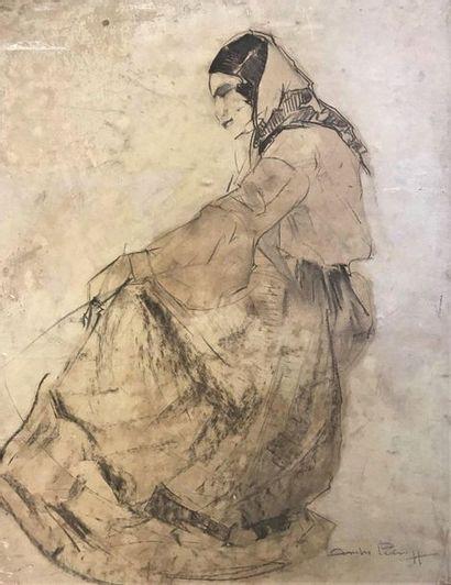 André PETROFF (1894-1975)  Femme au foulard...