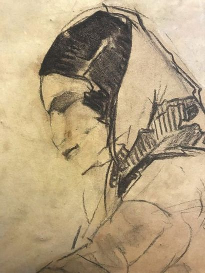 André PETROFF (1894-1975)  Woman with a scarf  Charcoal  61 x 48.7 cm  (Scratch...