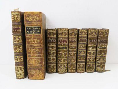 § Lot. Ensemble de 3 ouvrages du XVIIIe siècle (8 volumes):  - MOURGUES, Traité...