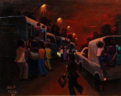 MOKE (1950-2001) Bus de nuit, 1981 Huile...