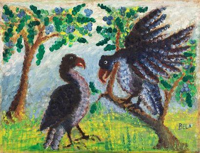 BELA (1940-1968) Parade d'oiseaux Huile...