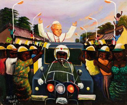 MOKE (1950-2001) Visite du pape, 1981 Huile...