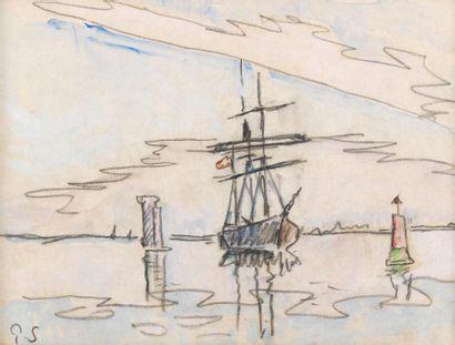SIGNAC Paul (1863 - 1935) Entrée dans le port Aquarelle et trait de crayon 18 x...