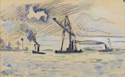SIGNAC Paul (1863 - 1935) Le port de Lorient Aquarelle et trait de crayon 20 x 32...