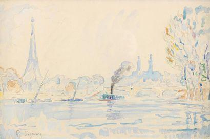 SIGNAC Paul (1863 - 1935) Pont d'Iéna Aquarelle 27 x 42 cm à la vue Signé en bas...