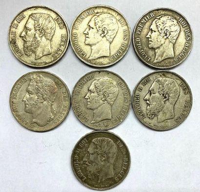 Belgique –  Lot de sept Écus de 5 Francs,...