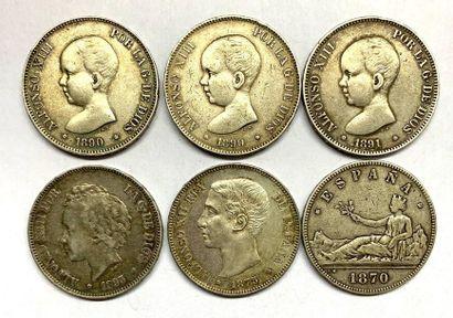 Espagne –  Lot de six Écus de 5 pesetas (alfonso...