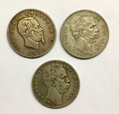 Italie –  Lot de trois Écus de 5 Lires, comprenant,...