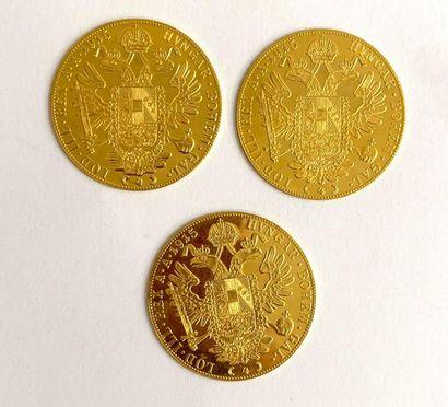 Autriche – François Joseph Ier  Lot de trois monnaies de 4 Ducats en OR 986/1000...
