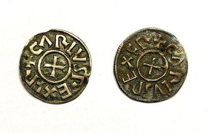 France – Charlemagne  Lot de deux Deniers...