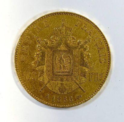 France Napoléon III Tête nue  Une monnaie de 100 Francs OR  TTB  Poids 32,26 gr...