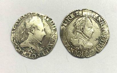 France – Henri III  Lot de deux Demi-Francs...