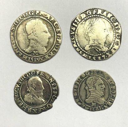 France – Henri III  Lot de quatre monnaies...