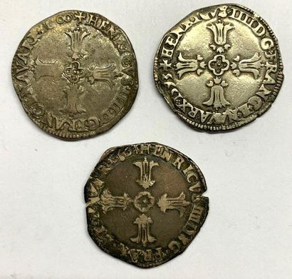 France – Henri IIII  Lot de trois Quart d'Écu...