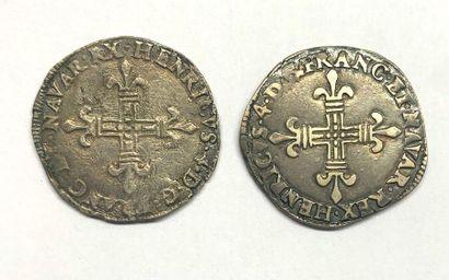 France – Henri IV  Lot de deux quart d'Écus...