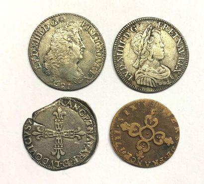 France – Louis XIV  Lot de quatre monnaies,...
